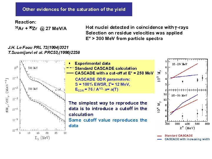 Other evidences for the saturation of the yield Reaction: 36 Ar + 90 Zr