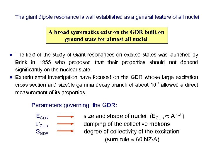 The giant dipole resonance is well established as a general feature of all nuclei
