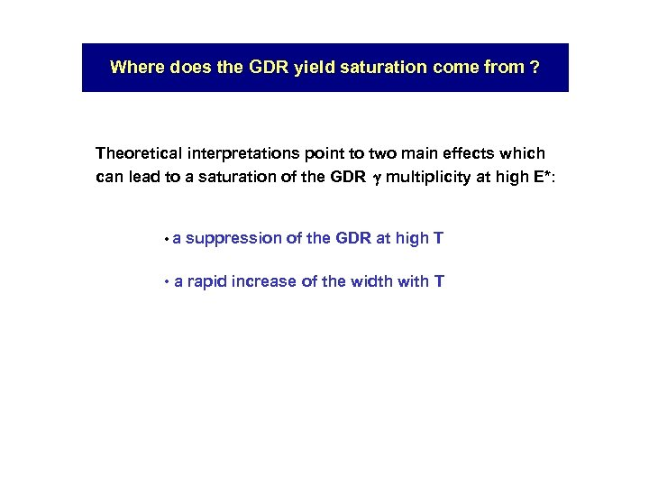 Where does the GDR yield saturation come from ? Theoretical interpretations point to two