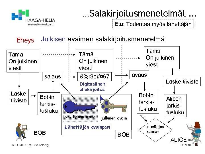…Salakirjoitusmenetelmät. . . Etu: Todentaa myös lähettäjän Eheys Julkisen avaimen salakirjoitusmenetelmä Tämä On julkinen