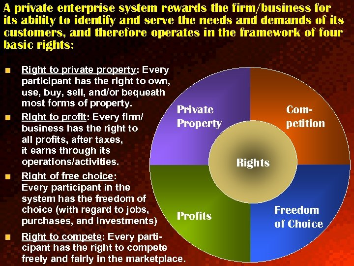 A private enterprise system rewards the firm/business for its ability to identify and serve