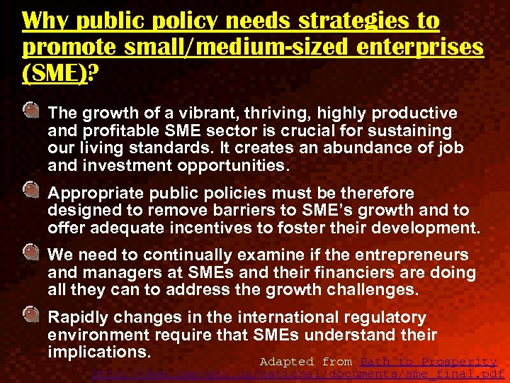 Why public policy needs strategies to promote small/medium-sized enterprises (SME)? The growth of a