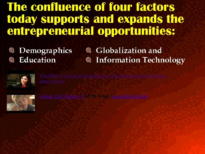 The confluence of four factors today supports and expands the entrepreneurial opportunities: Demographics Education