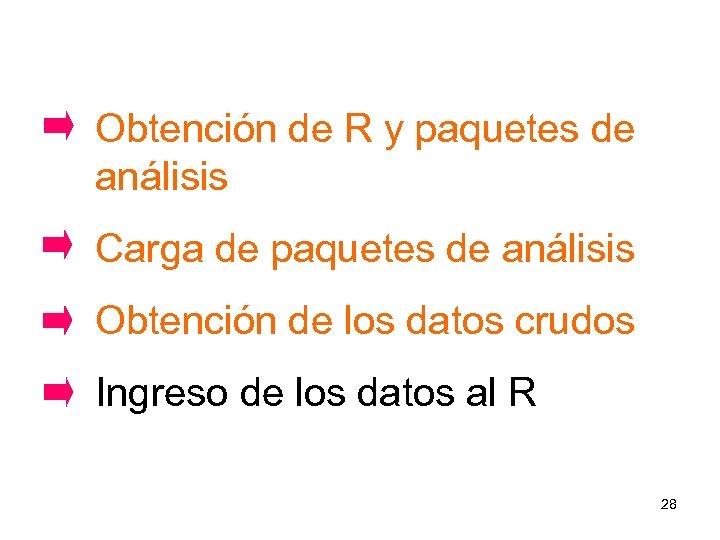 Obtención de R y paquetes de análisis Carga de paquetes de análisis Obtención de