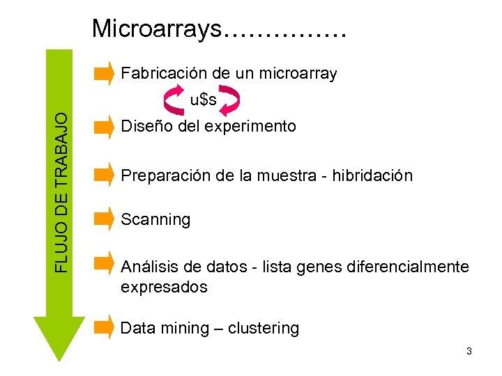 Microarrays…………… Fabricación de un microarray FLUJO DE TRABAJO u$s Diseño del experimento Preparación de