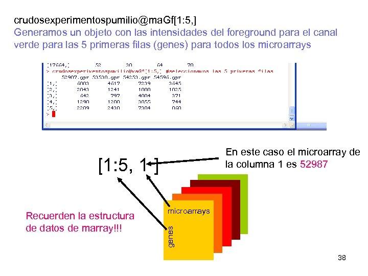 crudosexperimentospumilio@ma. Gf[1: 5, ] Generamos un objeto con las intensidades del foreground para el