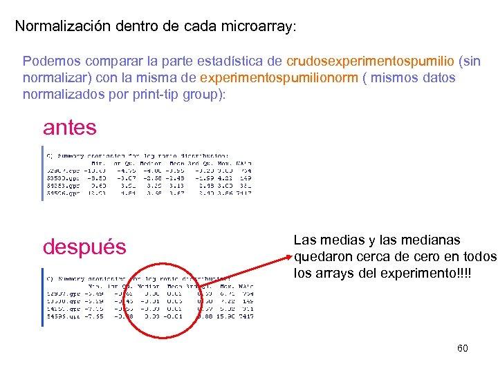 Normalización dentro de cada microarray: Podemos comparar la parte estadística de crudosexperimentospumilio (sin normalizar)