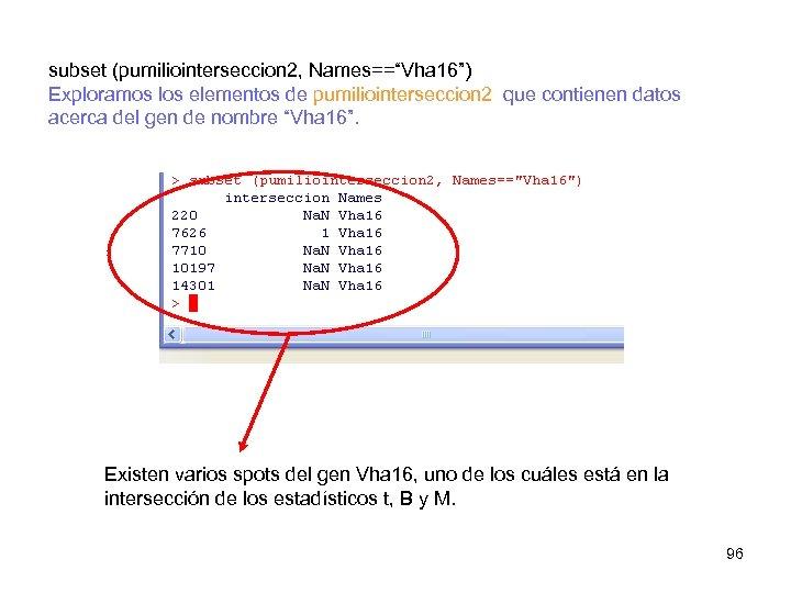 """subset (pumiliointerseccion 2, Names==""""Vha 16"""") Exploramos los elementos de pumiliointerseccion 2 que contienen datos"""