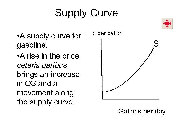 Supply Curve • A supply curve for gasoline. • A rise in the price,