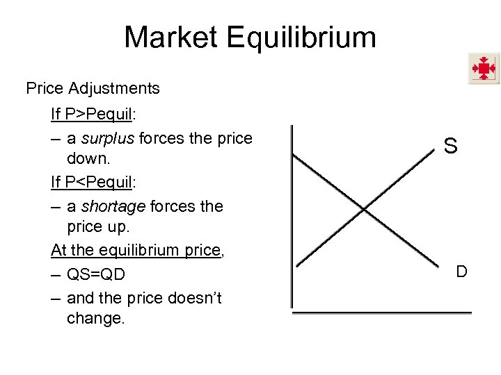 Market Equilibrium Price Adjustments If P>Pequil: – a surplus forces the price down. If