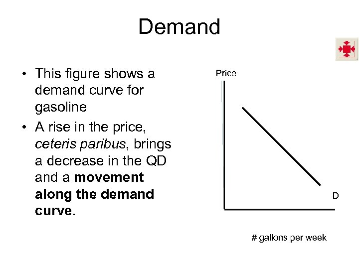 Demand • This figure shows a demand curve for gasoline • A rise in
