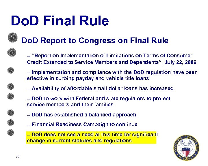 """Do. D Final Rule Do. D Report to Congress on Final Rule -- """"Report"""