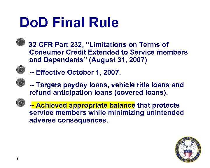 """Do. D Final Rule 32 CFR Part 232, """"Limitations on Terms of Consumer Credit"""