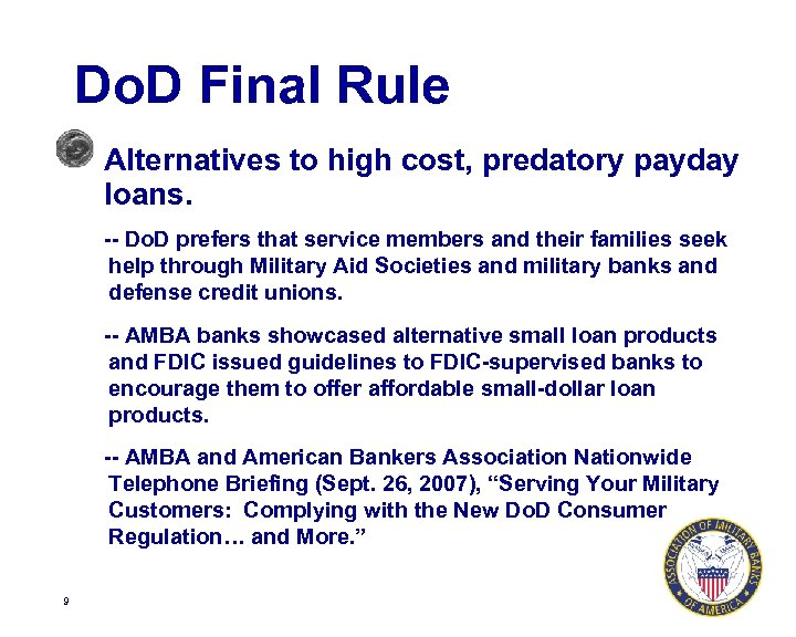 Do. D Final Rule Alternatives to high cost, predatory payday loans. -- Do. D