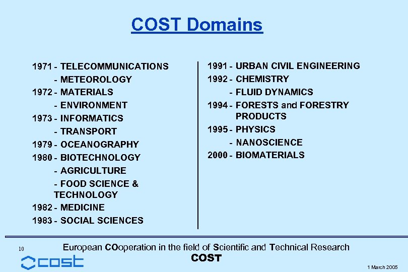 COST Domains 1971 - TELECOMMUNICATIONS - METEOROLOGY 1972 - MATERIALS - ENVIRONMENT 1973 -