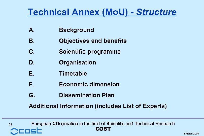 Technical Annex (Mo. U) - Structure A. Background B. Objectives and benefits C. Scientific