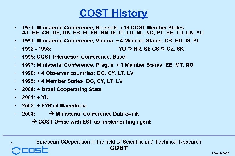 COST History • 1971: Ministerial Conference, Brussels / 19 COST Member States: AT, BE,