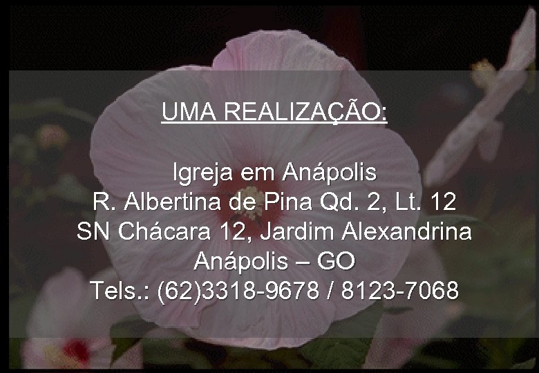 UMA REALIZAÇÃO: Igreja em Anápolis R. Albertina de Pina Qd. 2, Lt. 12 SN