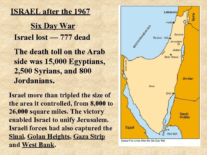 ISRAEL after the 1967 Six Day War Israel lost — 777 dead The death
