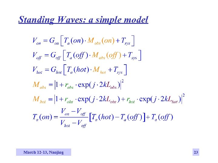 Standing Waves: a simple model March 12 -13, Nanjing 23