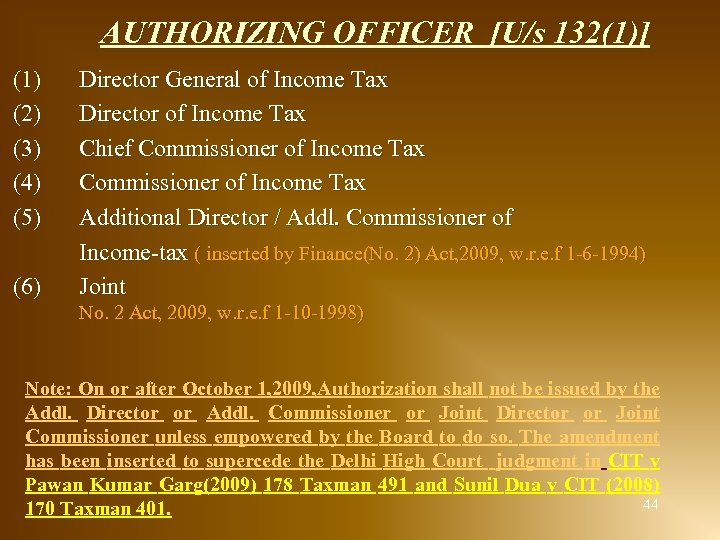 AUTHORIZING OFFICER [U/s 132(1)] (1) (2) (3) (4) (5) (6) Director General of Income