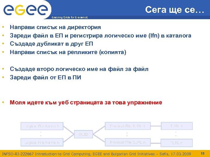 Сега ще се… Enabling Grids for E-scienc. E • • Направи списък на директория