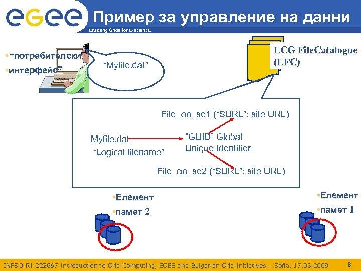 """Пример за управление на данни Enabling Grids for E-scienc. E • """"потребителски • интерфейс"""""""