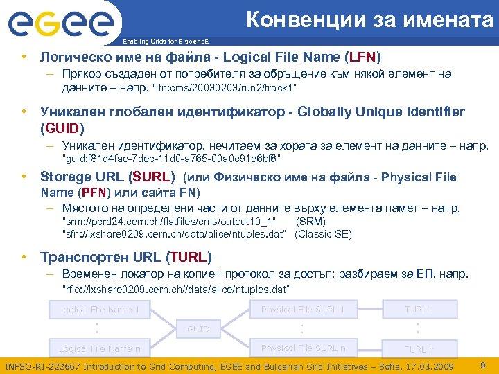 Конвенции за имената Enabling Grids for E-scienc. E • Логическо име на файла -