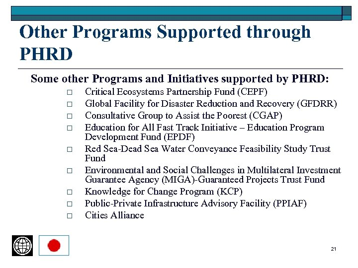 Other Programs Supported through PHRD Some other Programs and Initiatives supported by PHRD: o