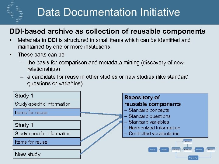 DDI-based archive as collection of reusable components • • Metadata in DDI is structured