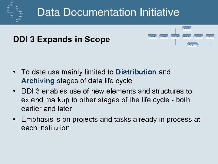 DDI 3 Expands in Scope • To date use mainly limited to Distribution and