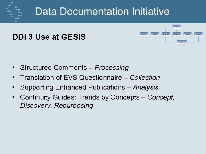 DDI 3 Use at GESIS • • Structured Comments – Processing Translation of EVS