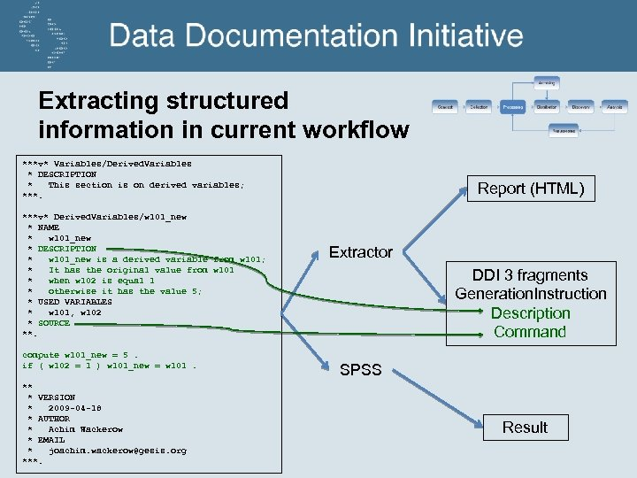 Extracting structured information in current workflow ***v* Variables/Derived. Variables * DESCRIPTION * This section