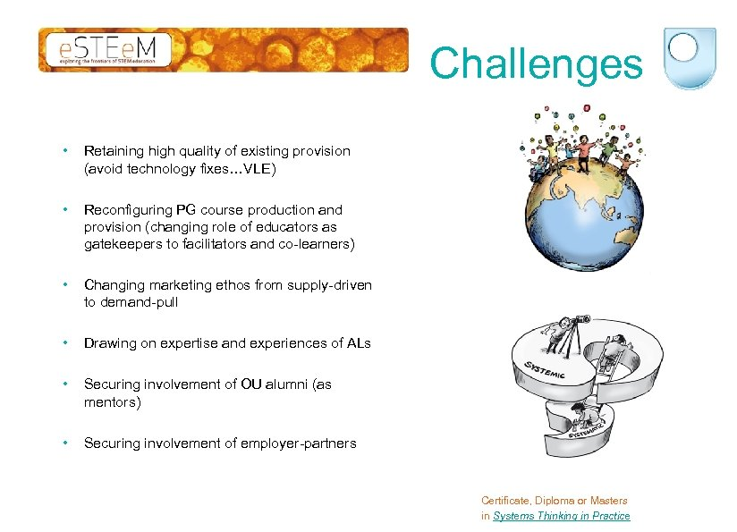 Challenges • Retaining high quality of existing provision (avoid technology fixes…VLE) • Reconfiguring PG
