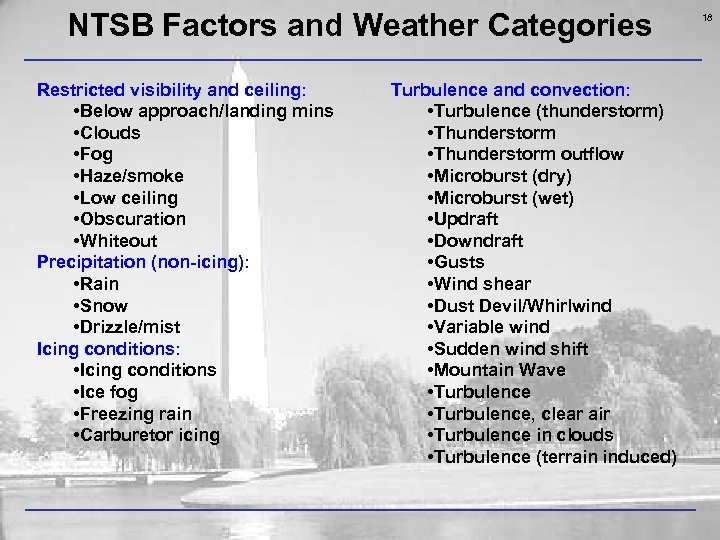 NTSB Factors and Weather Categories Restricted visibility and ceiling: • Below approach/landing mins •