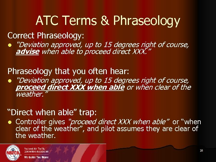 "ATC Terms & Phraseology Correct Phraseology: l ""Deviation approved, up to 15 degrees right"