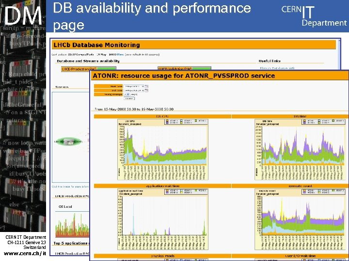 DB availability and performance page Internet Services CERN IT Department CH-1211 Genève 23 Switzerland