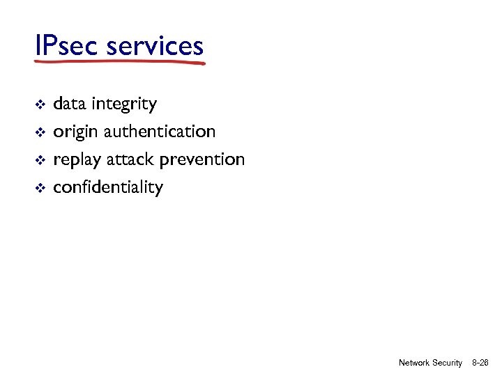 IPsec services v v data integrity origin authentication replay attack prevention confidentiality Network Security