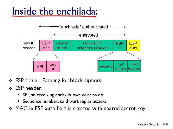 """Inside the enchilada: """"enchilada"""" authenticated encrypted new IP header ESP hdr SPI v v"""