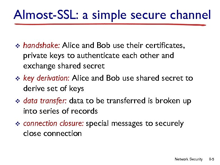Almost-SSL: a simple secure channel v v handshake: Alice and Bob use their certificates,