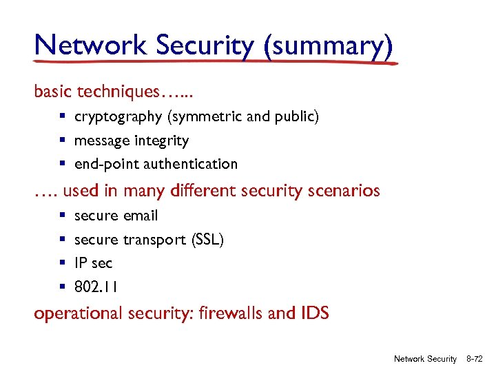 Network Security (summary) basic techniques…. . . § cryptography (symmetric and public) § message