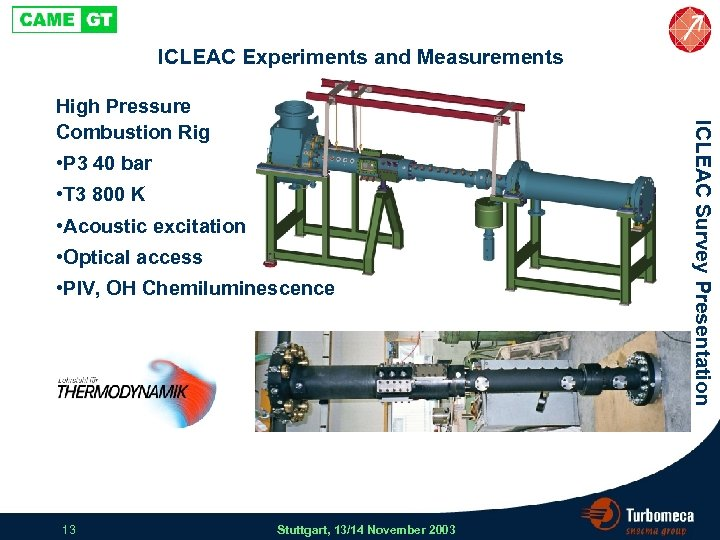 ICLEAC Experiments and Measurements • P 3 40 bar • T 3 800 K