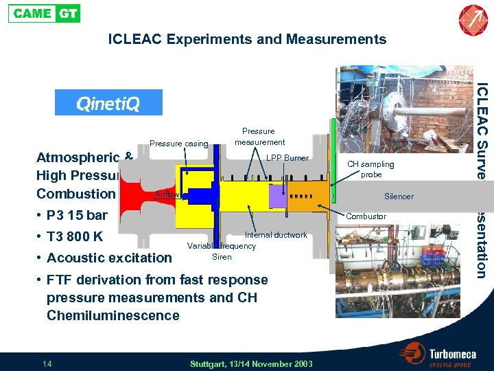 ICLEAC Experiments and Measurements Atmospheric & High Pressure Combustion Rig LPP Burner Airflow Silencer