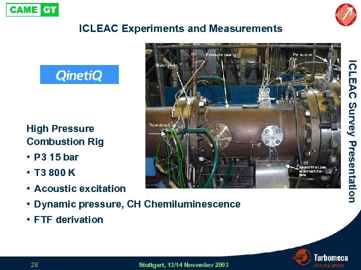 ICLEAC Experiments and Measurements • P 3 15 bar • T 3 800 K