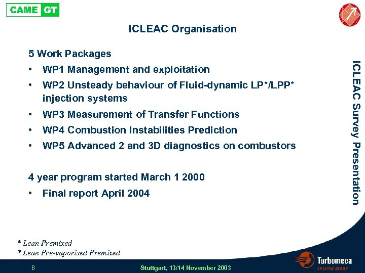 ICLEAC Organisation 5 Work Packages WP 1 Management and exploitation • WP 2 Unsteady