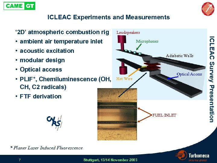 ICLEAC Experiments and Measurements ' 2 D' atmospheric combustion rig Loudspeakers Microphones • acoustic
