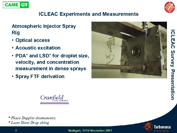 ICLEAC Experiments and Measurements • Optical access • Acoustic excitation • PDA* and LSD*