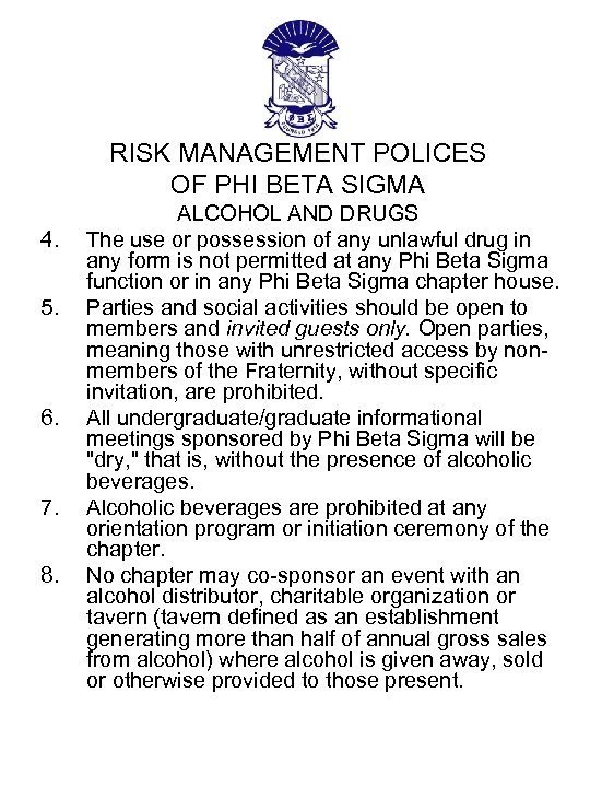 RISK MANAGEMENT POLICES OF PHI BETA SIGMA 4. 5. 6. 7. 8. ALCOHOL AND