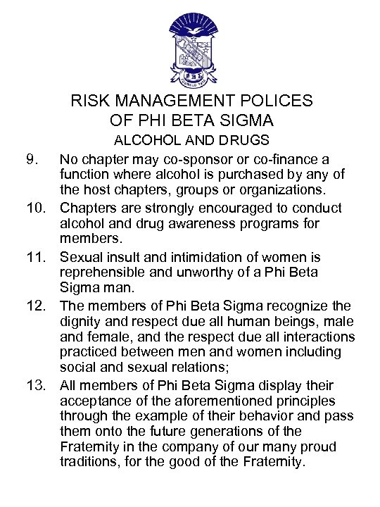 RISK MANAGEMENT POLICES OF PHI BETA SIGMA 9. 10. 11. 12. 13. ALCOHOL AND