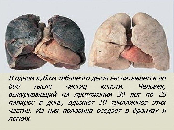 В одном куб. см табачного дыма насчитывается до 600 тысяч частиц копоти. Человек,